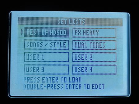POD HD500 LCD画面(プリセット設定選択画面)