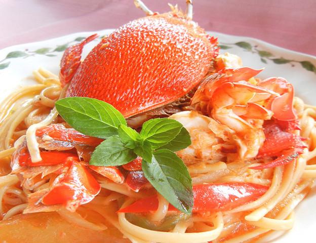 アサヒガニのトマトクリームパスタ
