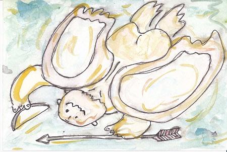天使(波の中から)絵